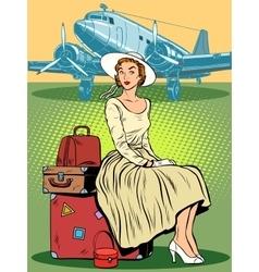 Woman passenger airport baggage vector