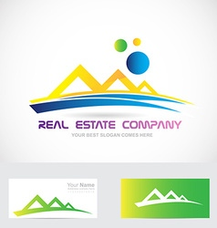 Yellow blue real estate logo icon vector