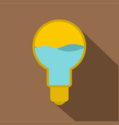 yellow light bulb with blue water inside icon vector image