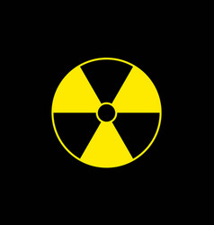 yellow radiation sign on black background flat vector image