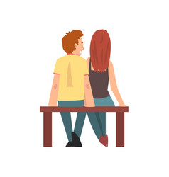 young man and woman sitting on bench happy vector image