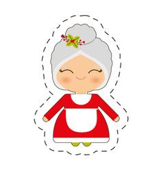 cute mrs claus christmas cut line vector image