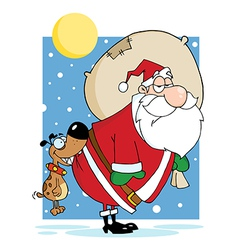 Dog Biting A Santa Claus In The Night vector image vector image
