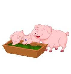 Happy farm pig family cartoon vector image