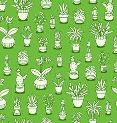 Home plants seamless pattern on green background vector image vector image