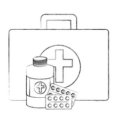 medical kit with medicine bottle vector image