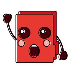 Suprised file folder kawaii icon image vector
