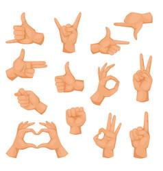 hands showing deaf-mute different gestures vector image