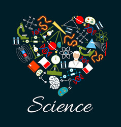 heart with science and research icons vector image