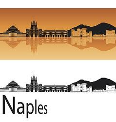 Naples skyline in orange background vector