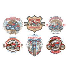 set color vintage badges emblems with a vector image