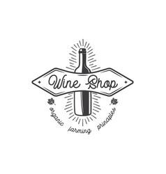 wine shop logo label organic wines principles vector image