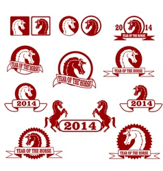 2014 year of the horse signs and labels collection vector image vector image