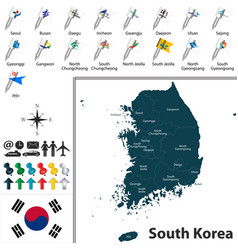 map of south korea with divisions vector image vector image