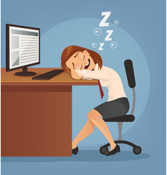 sleeping happy smiling office worker woman vector image vector image