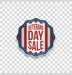 Veterans day sale greeting emblem with text vector