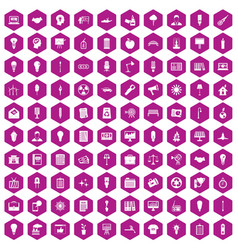 100 lamp icons hexagon violet vector image vector image