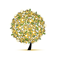 Art floral tree yellow for your design vector image vector image