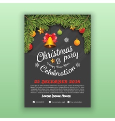 Christmas and Happy New Year Party Flyer Template vector image