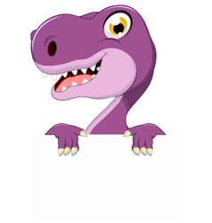 dinosaur cartoon with blank sign vector image vector image