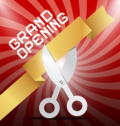 Grand Opening Silver Scissors Cutting Gold Ribbon vector image