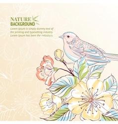 Hand drawn bird on sacura branch vector image