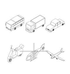 Isometric transport set vector image