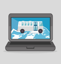 Laptop computer with bus device icon vector