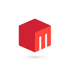 Letter m cube icon design template elements vector