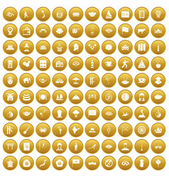 100 dish icons set gold vector