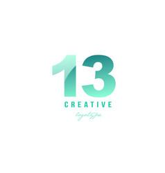 13 green pastel gradient number numeral digit vector