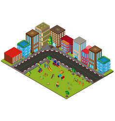 3d design for city scene with buildings and vector image