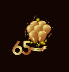65 year anniversary gold balloon template design vector