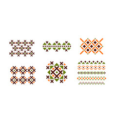 abstract geometric patterns set bright embroidery vector image
