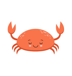 an of a cute smiling red crab in format vector image