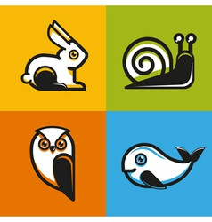 Animal emblems and icons in flat style vector