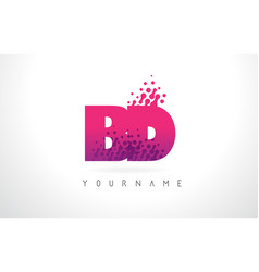 Bd b d letter logo with pink purple color and vector