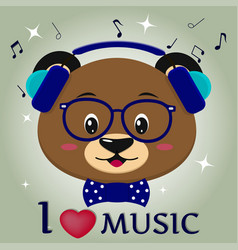 bear brown musician listening to music head in vector image