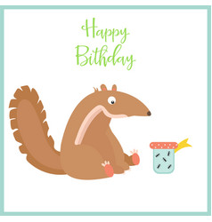 birthday card with cute anteater and the present vector image
