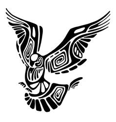Black flying bird silhouette isolated on white vector