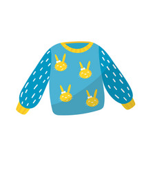 Blue little sweater with bunnies print apparel vector
