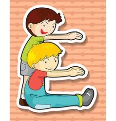 Boys exercising vector image