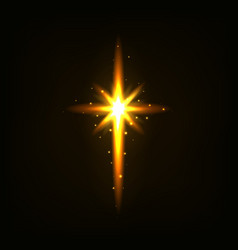 Bright golden light cross vector