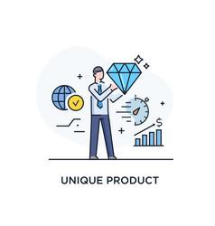Businessman will present a unique product success vector