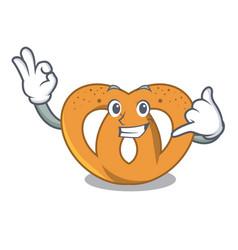 call me pretzel mascot cartoon style vector image