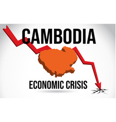 Cambodia map financial crisis economic collapse vector