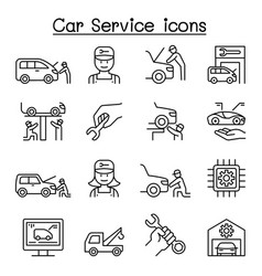 Car service maintenance icon set in thin line vector