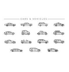 cars and vehicles concept line style icons vector image