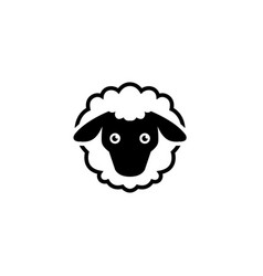 cate sheep head and face logo vector image