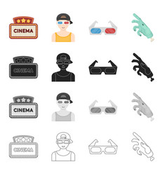 Cinema sign viewer 3d glasses special effects vector